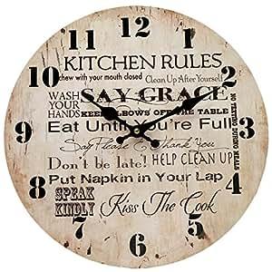 Pendule Horloge Murale KITCHEN RULES Publicitaire Rétro Vintage Clémentine Créations