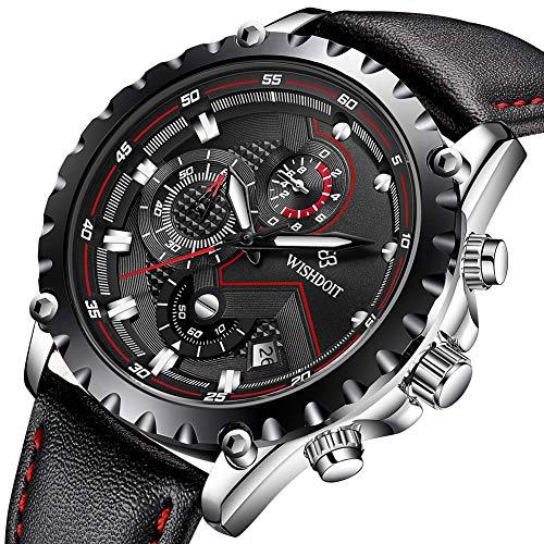 WISHDOIT Herren Uhren Fashion Sport Wasserdicht Militäruhr Männer Multifunktions Chronograph Quarz Schwarz Armbanduhren Kalender mit Leder Armband -