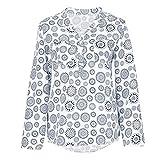 SEWORLD 2018 Damen Mode Sommer Herbst Frauen Schal Übergröße Drucken Langarm Tupfen Knopf Bluse Pullover Tops Shirt(Weiß,EU-52/CN-5XL)