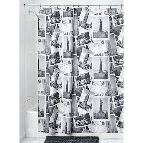 InterDesign Nyc Stoff-Duschvorhang-182,9 x 182,9 cm, Grau/Weiß, Polyester, Gray/White, 182,9 x 182,9 x 0,4 cm (Duschvorhänge Stoff Kinder)