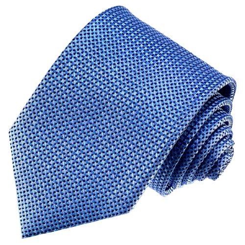 LORENZO CANA - Blaue Krawatte aus 100% Seide mit schwarzen und weissen Punkten Seidenschlips - 84470