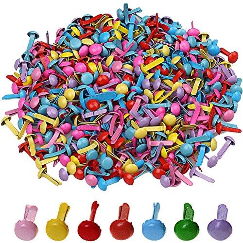 500 Stück Mini Brads, Borte 8mm x 5mm Pastell Runde Brads Multicolor Papier Handwerk Stanzen Scrapbooking DIY Tool