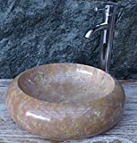 Guru-Shop Massives Rundes Marmor Aufsatz-Waschbecken, Waschschale, Naturstein Handwaschbecken Ø 40 cm, Waschtische, Waschbecken & Badewannen