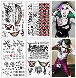 COKOHAPPY SS Temporäre Tattoo - Harley Quinn & The Voll set von 4 Blätter - 80+ Tats Kostüm / Cosplay