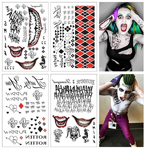 �re Tattoo - Harley Quinn & The Voll set von 4 Blätter - 80+ Tats Kostüm / Cosplay (Harley Halloween-kostüm)