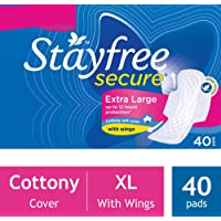Stayfree Secure XL Cottony Sanitary Napkins with Wings - 40 Pads (Save Rupees 10)