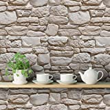 #6: DeStudio 'Old Vintage Stone' Wallpaper Roll (PVC Vinyl Film, 38 X 495 X 0.01 cms)