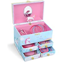 Jewelkeeper Regenbogen-Einhorn, große Musikschmuck-Aufbewahrungsbox mit 4 ausziehbaren Schubladen - dem Einhorn Song