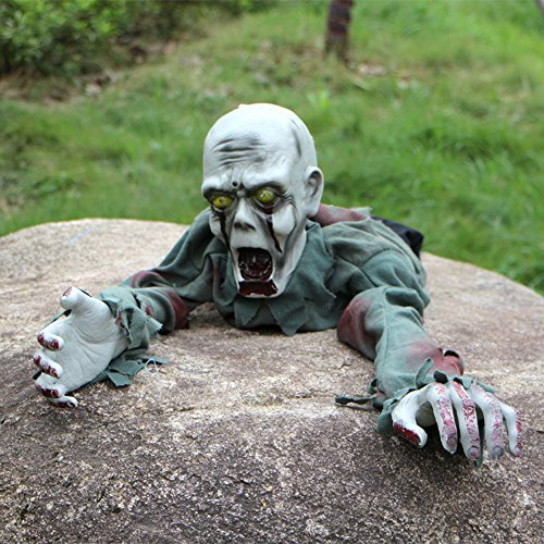 sts Dekoration Induktion Scary Sound Lighting Eyes Crawl Ghost Tricky Prank Toys Garden Yard Ornaments Party Haunted Houses Props (Scary Halloween Yard Dekorationen)