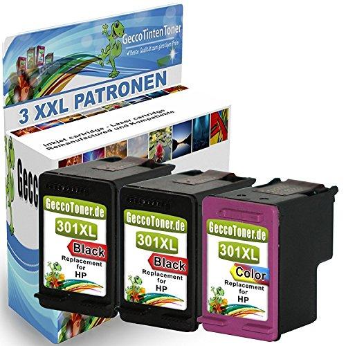 Premium 3er Set kompatible Tintenpatronen als Ersatz für HP 301 XL Druckerpatronen...