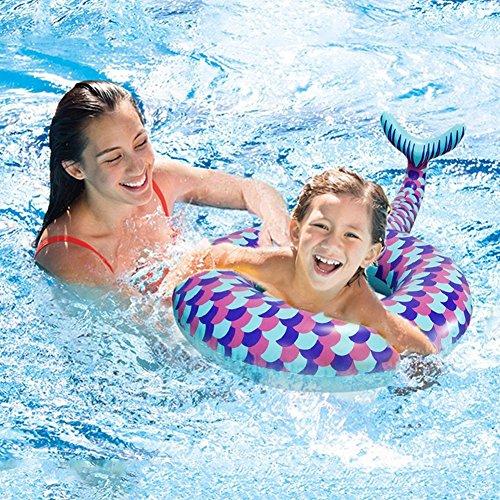 """WISHTIME Baby Schwimmring Aufblasbares Schwimmtier Aufblasbarer 32"""" Meerjungfrau Schwimmreifen Schwanz Luftmatratzen Aufblasbarer Luftmatratze Wasser für Pool Party Strand für Kinder"""