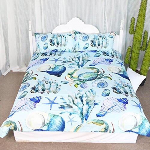 Aqua Blue Ocean Creatures Bettbezug-Set 3-teilig marine Creature Muster reversibel Tagesdecke Bettwäsche-Set, Polyester-Mischgewebe, blau, Volle Größe -
