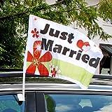Autoflagge Hochzeit Just Married mit Blüten und Herzen - Fahne für die Autodeko , personalisierbar mit Namen des Brautpaares, 10 St.