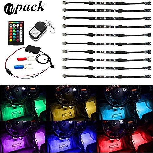 AMBOTHER-10x-LED-Auto-Beleuchtung-Atmosphre-Kit-Innenraum-Licht-Interior-Lampe-LED-Unterbodenbeleuchtung-Neon-Dekoration-Licht-Streifen-Accent-Glow-Lichter-Innenbeleuchtung-Auenbeleuchtung-mit-Fernbed