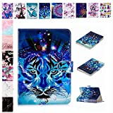 E-Mandala Universal 7 Zoll Hülle Etui Flip Case Leder Wallet Cover Tablet PC Tasche mit Kartenfach Klapphülle Ledertasche Lederhülle - Tiger
