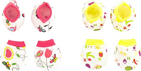 Pebbles Baby 100% Cotton Mitten (Hand Gloves), Bootie Combo Set for Toddler/Infant / New Born Baby, Age 0 to 12 Months, Pack of 2 Set (Pink and Yellow Colour)