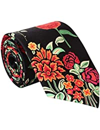 Rohit Bal Black & Pink Floral Print Silk Tie & Pocket Square Set