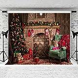 Kate 7 × 5ft (2.2 × 1.5 m) fotografía de Navidad telón de fondo de ladrillo de interior chimenea verde árbol de Navidad para la familia estudio de fotos sin arrugas telones