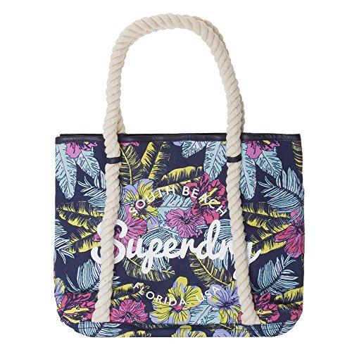 Superdry Damen Bayshore Tote-Bag, Multicolore (Neon Pop Hibiscus), 32x37x9 cm