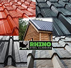 Tile Effect Galvanised Steel Roofing Sheets with Polyester Coating RHINO STEEL CLADDING (Tel: 01675 462 692)
