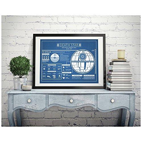 Inked und Star Wars sortiert Design Patent Art Poster Silk Screen Prints, 45,7cm W x 61cm W Star Wars, Death Star infographic-blue Grid -
