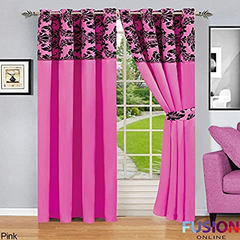 RING TOP FULLY LINED PAIR EYELET READY CURTAINS LUXURY DAMASK CURTAIN RING TOP (66