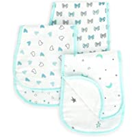 The White Cradle Baby Burp Cloth & Bib (3 pc Set) - Organic Cotton Muslin Double Cloth, Soft & Absorbent, Reversible Designs, Multiple Layers, Hypoallergenic, Machine Washable, Durable - Blue