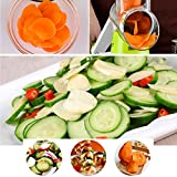 from baban Baban Vegetable Slicer, Multi-function Food Slicer, Mandoline Slicer, Manual Hand Speedy Safe Vegetables Chopper Cutter, Cheese Grater, with 3 Cylindrical Stainless Steel Blades for Grinding, Cutting Silk, Slicing, Best for Carrot, Cucumber, Cheese, Onions, Tomato, Potato, Zucchini, etc (Green)