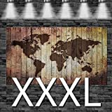 Weltkarte eingebrannt in Holz (Optik) auf Leinwand, aufgespannt auf 2cm Keilrahmen, 160x105cm, Größe XXXL