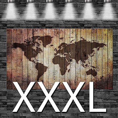 Weltkarte eingebrannt in Holz (Optik) auf Leinwand, aufgespannt auf 2cm Keilrahmen, 160x105cm,...