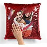 MUKESH HANDICRAFTS Personalized/Personalise Photo Magical/Magic/Red Magic Photo Cushion/Pillow |Gifting Cushions for All Occa