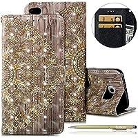 Herbests Handyhülle für Huawei P8 Lite 2017 Handytasche Handy Schutzhülle Luxus Glitzer Glänzend Leder Tasche Flip Case Cover Lederhülle Bookstyle Klapphülle Kartenfächer,Gold Mandala Blumen