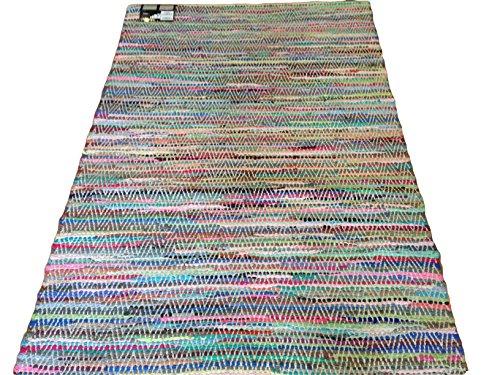 Tappeto moderno cotone riciclato cm 120 x 170 multicolor PEZZOTTO DOUBLE FACE