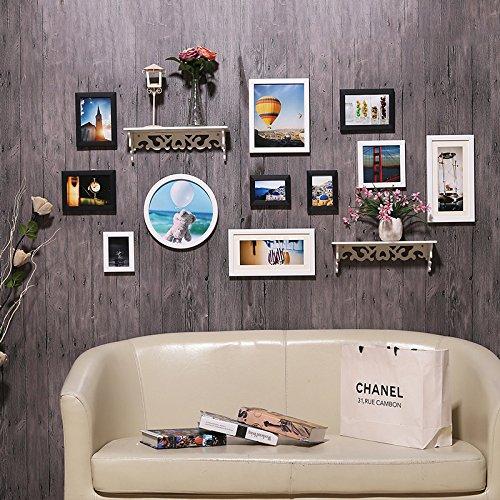 Hjky photo frame wall set creative foto an der wand nel soggiorno moderno minimalista cornice an der wand combinata parete attrezzata continental foto wall racks, nero e bianco