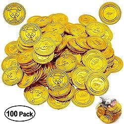 MMTX Goldmünzen Piratenschatz, Gold-Taler,Piraten Schatz,Piraten Party,Mitgebsel Kindergeburtstag Gastgeschenke für Kinder Spielzeug 100 Stück