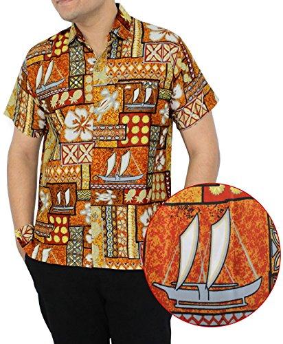 LA LEELA Hawaii-Shirt für Herren, kurzärmelig, Fronttasche, Strandkaribik, Grau - Braun - Small | Brust 97/102 cm -