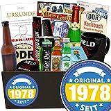 Original seit 1978 | Ostalgie Geschenkset | mit Bier, Pfeffi Likör, Kondomen und viel mehr | GRATIS Aufkleber - Original seit 1978