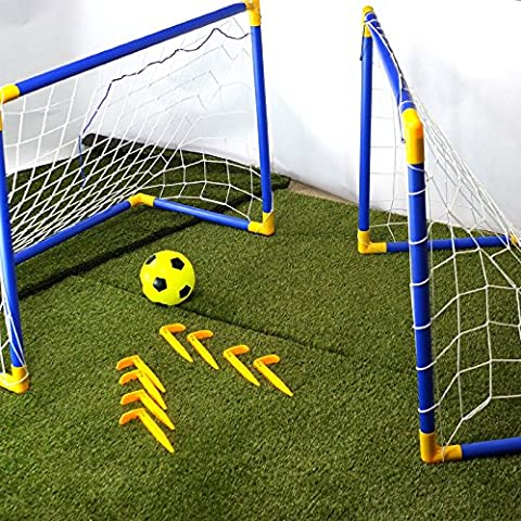 CostMad 2 x Football Soccer Goals Posts with Nets Pegs Ball & Pump Kids Childrens Junior Fun Small Mini Portable Indoor Outdoor Sport Training Practice Set
