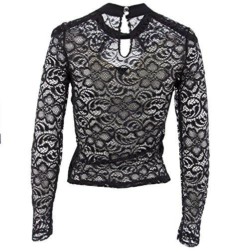 Netgozio Shirt Frauen Lange Hülsen-Spitze Shirt Sexy V-Ausschnitt Schwarz Weiß Rosa Schwarz