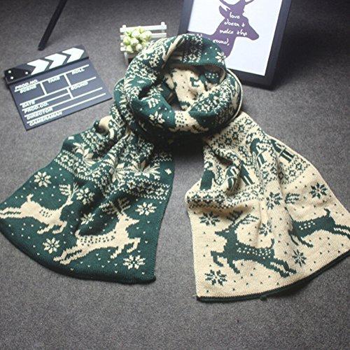 Leisial Écharpe de Motif de Flocon de Neige Foulard pour Femme ou Homme Hiver 190cm x 33cm Vert
