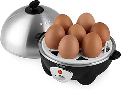 Tower Egg Boiler and Poacher with Steamer, Ideal for Soft and Hard Boiled Eggs, Up to 7 Egg Capacity, Boil Dry Protection and Auto Cut-Off, Energy Efficient, Stainless Steel, 360 W, Black