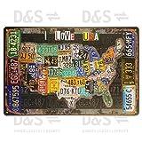 Nostalgie Blechschild 'Nummernschilder / Signs / USA / Karte'