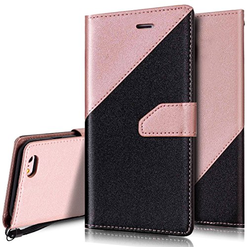 Custodia iPhone 6S 4.7 Cover iPhone 6 4.7,Ukayfe Stitching Colore Flip Case Cover per iPhone 6S 4.7,iPhone 6/6S Lussuosa Astuccio Custodia Cover [PU Leather] [Shock-Absorption] Protettiva Portafoglio Nero + Oro rosa