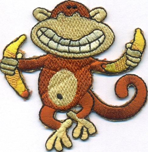 Crazy Monkey tanzender Affe mit Banane Mogli Dschungelbuch Aufbügler Aufnäher