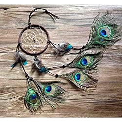 Punta de pincel hecho a mano en India pavo real Atrapasueños viento, estilo indio pluma colgante coche colgante regalo