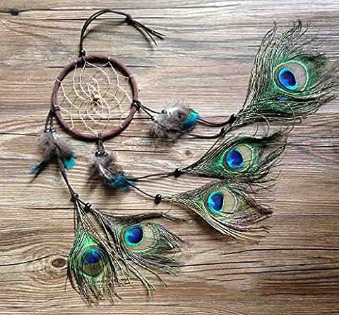 Brosse Stylo fait main indien paon Attrape-rêves Carillon style indien plume pendentif voiture à suspendre cadeau