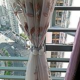 BTSKY 1 Par de Cuerdas para Cortinas Magnéticas Hebillas de Cortinas con Perlas Material Tejido Diseno Clásico Europea Color Beige/Gris (Gris)