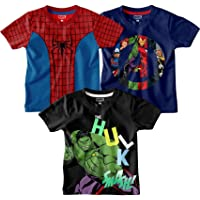 Marvel by Bon Organik Boy's Round Neck Cotton T-Shirt (Pack of 3)