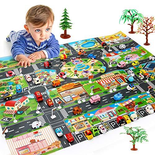 Moonvvin Kinder Verkehrskarte Stadtleben, ideal zum Spielen mit Autos und Spielzeug, Spielmatte für Schlafzimmer, Spielzimmer, Spielzimmer und Spielplatz (kein Spielzeugauto)