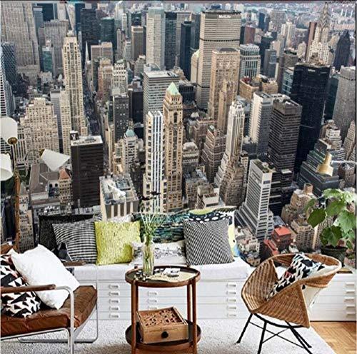 Hwhz Wallpaper 3D Benutzerdefinierte New York City Moderne Hochhaus Fotografie Hintergrund Wallpaper Restaurant Bar Einkaufszentrum WandbildA-400X280Cm